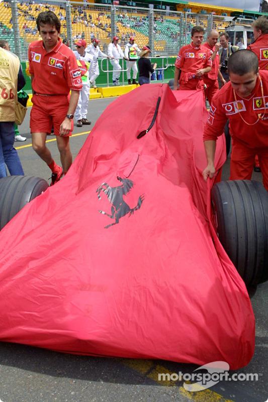 Team Ferrari arriving at technical inspection