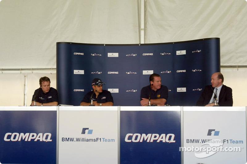 Compaq driver day: Sam Michael, Juan Pablo Montoya, Alan Jones and Andrew Collis