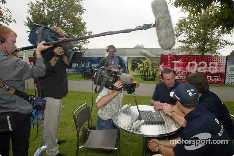 Compaq driver day: Alan Jones, Juan Pablo Montoya and Sam Michael