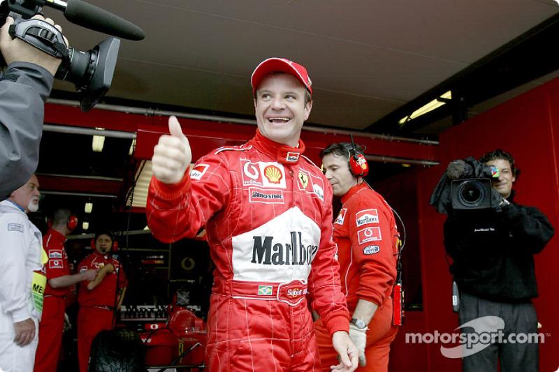 Rubens Barrichello heureux après sa pole position
