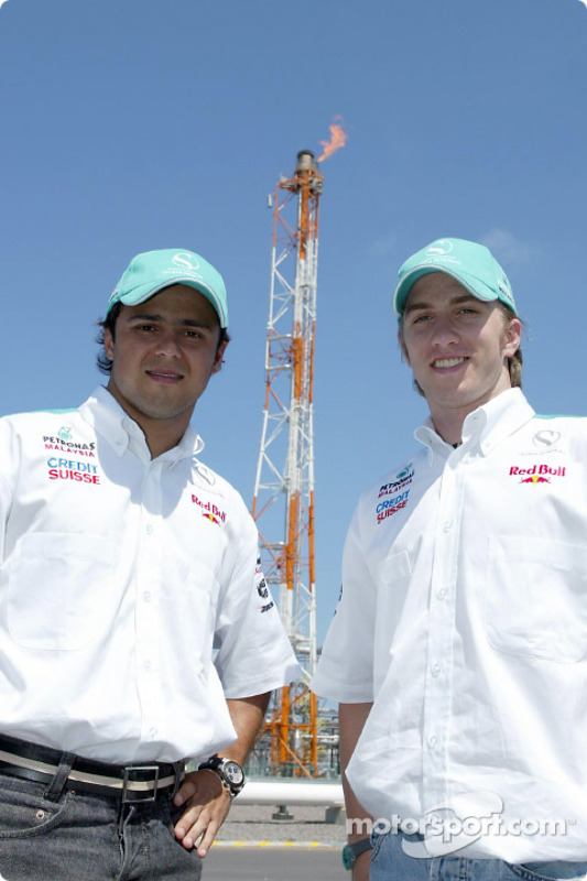 Visit at Petronas integrated petrochemical Complex in the town of Kerteh: Felipe Massa and Nick Heidfeld
