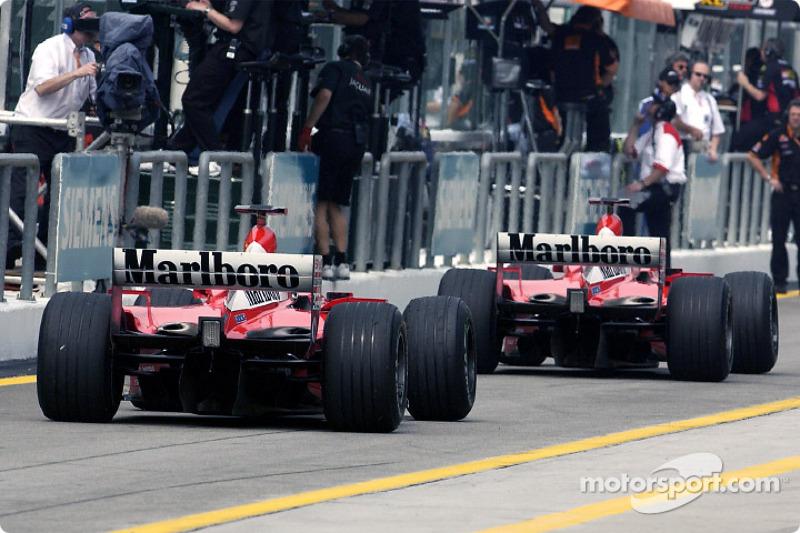 The two Ferraris on pitlane