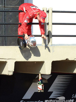 Michael Schumacher and the flying champagne bottle