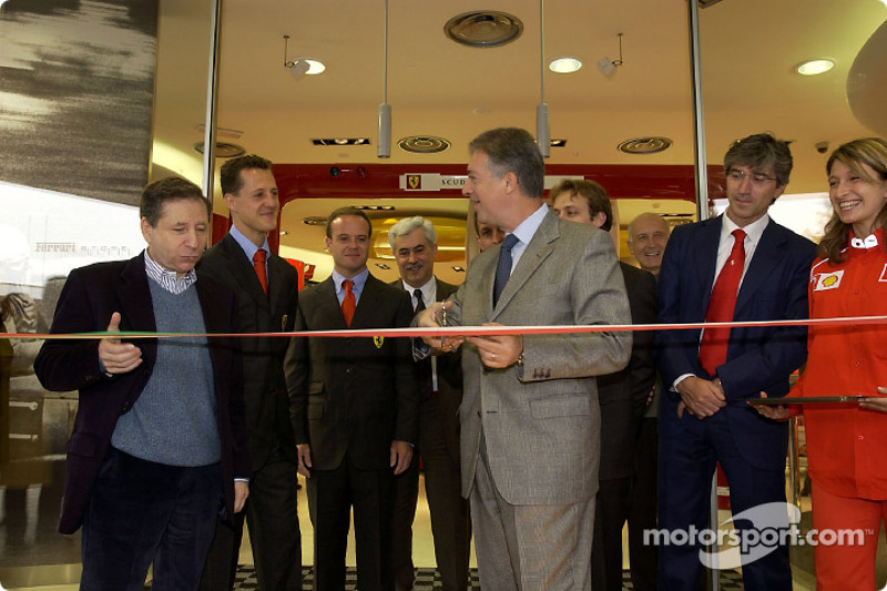 Official opening of Ferrari Store, Maranello: the ribbon cutting with Jean Todt, Michael Schumacher