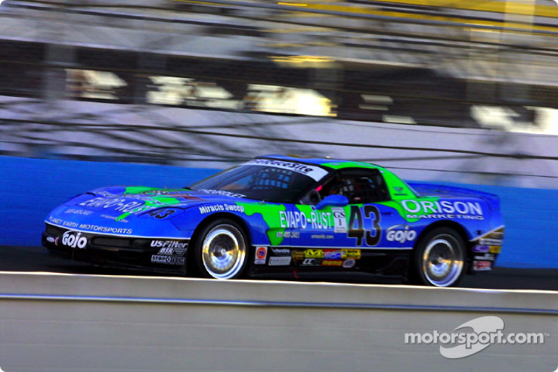 The #43 Orison Marketing Chevrolet Corvette winning the UnitedAuto Sport 250