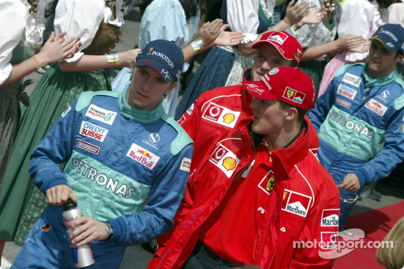 Drivers parade: Michael Schumacher and Nick Heidfeld