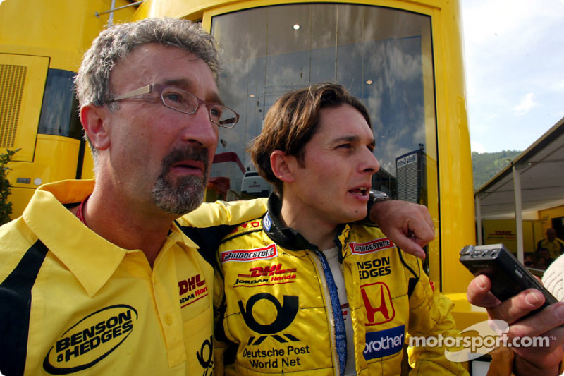 Eddie Jordan and Giancarlo Fisichella after the race