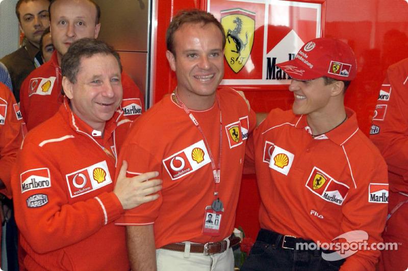 Rubens Barrichello birthday celebration: Jean Todt, Rubens Barrichello and Michael Schumacher