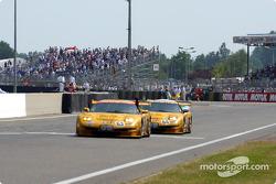 The two Corvette Racing Chevrolet Corvette C5-R at the finish line