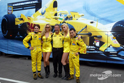 Giancarlo Fisichella, Eddie Jordan and Takuma Sato in charming company