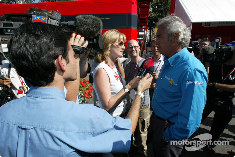 Announcement of Fernando Alonso as the Renault F1 race driver for 2003: Flavio Briatore