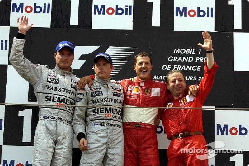 2002: 1. Михаэль Шумахер, 2. Кими Райкконен, 3. Дэвид Култхард