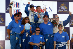 The LMP 675 podium: winners Chris McMurry, Bryan Willman and Jeff Bucknum celebrating with their team