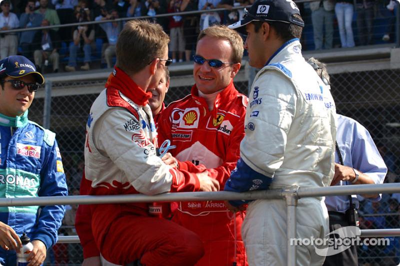 Drivers' parade: Allan McNish, Rubens Barrichello and Juan Pablo Montoya