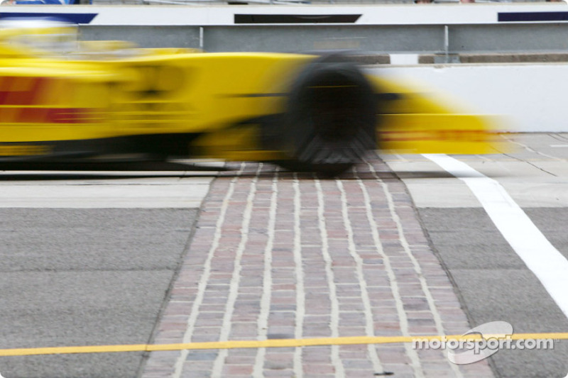 Giancarlo Fisichella crossing the Brickyard