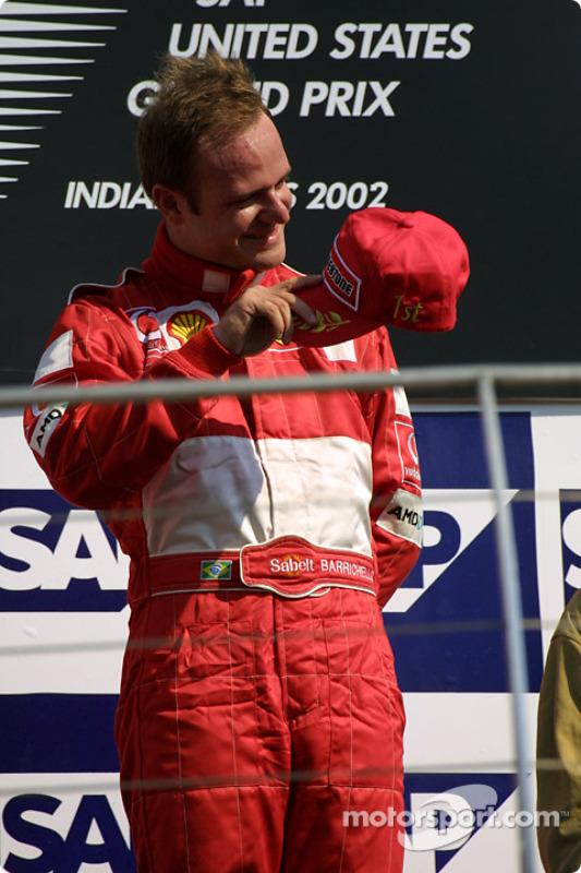 The podium: race winner Rubens Barrichello