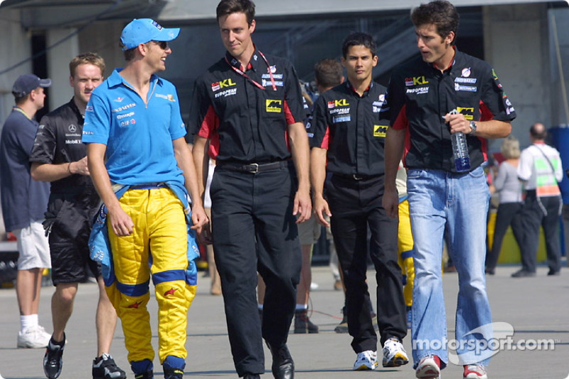 Jenson Button, Alex Yoong y Mark Webber