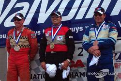 The podium: race winner Csaba Bujdoso with Brian LaCroix and Bob Hahn