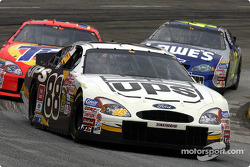 Dale Jarrett leads Ricky Craven and Jimmie Johnson