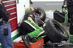 A member of Bobby Hamilton's crew relaxes between cautions