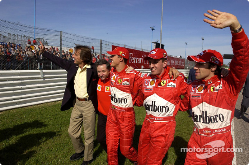 Luca di Montezemelo, Jean Todt, Michael Schumacher, Luciano Burti y Luca Badoer