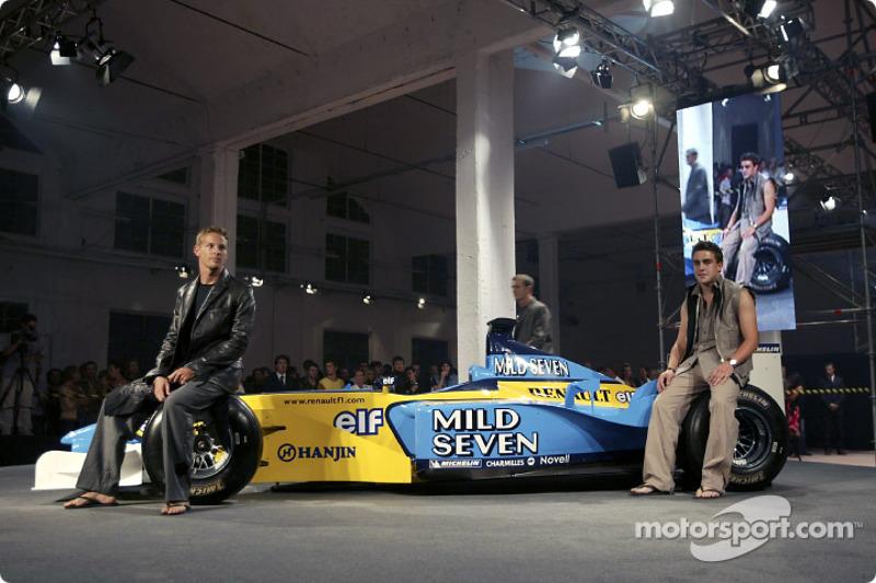 Fiesta de medios Spoon/Mild Seven RenaultF1: Jenson Button y Fernando Alonso