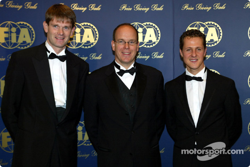 Marcus Gronholm, Prince Albert of Monaco and Michael Schumacher
