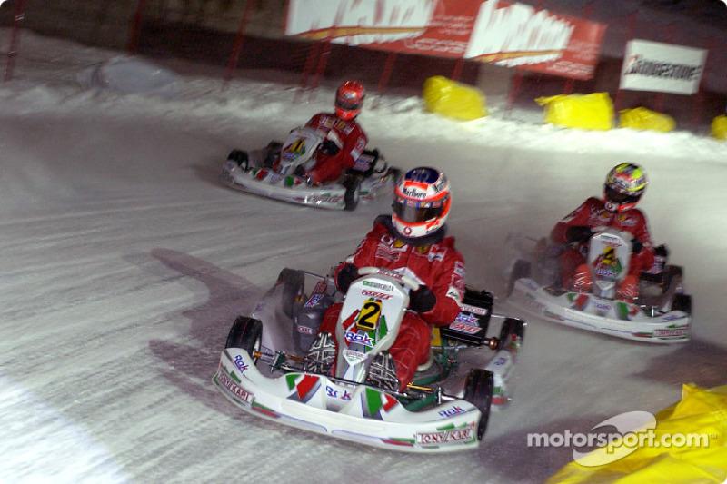 kart race: Rubens Barrichello, Luciano Burti ve Michael Schumacher
