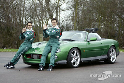 Mark Webber and Antonio Pizzonia pose with the James Bond 007 XK-R during a photoshoot at the Jaguar Racing headquarters in Milton Keynes