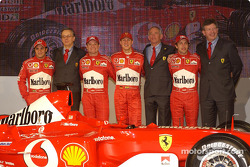 Paolo Martinelli, Rory Byrne, Ross Brawn, Felipe Massa, Luca Badoer, Michael Schumacher and Rubens B