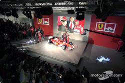 Luca di Montezemelo, Jean Todt, Michael Schumacher and Rubens Barrichello with the new Ferrari F2003