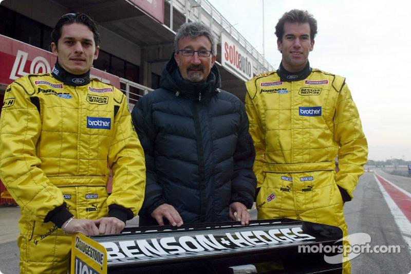 Giancarlo Fisichella, Eddie Jordan and Ralph Firman