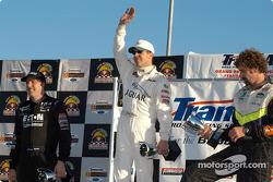 The podium: race winner Scott Pruett, Johnny Miller and Boris Said