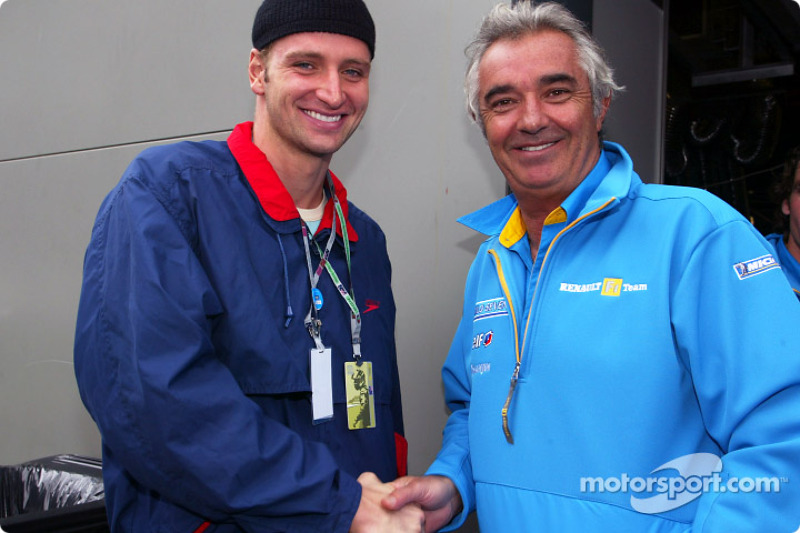 Flavio Briatore with swimmer Massimiliano Rosolino, winner of three olympic gold medals