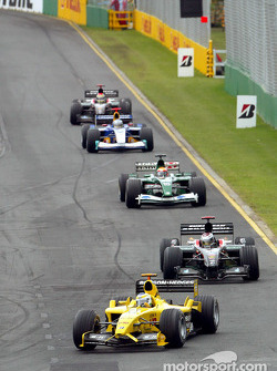 Giancarlo Fisichella leads a group of cars