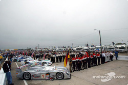 The starting grid during the pre-race ceremonies