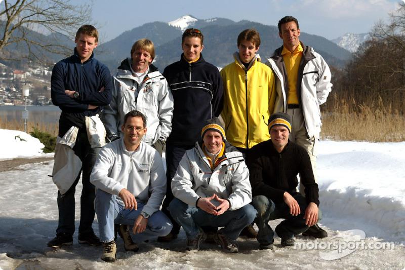 Back row, from left: Peter Dumbreck, Joachim Winkelhock, Jeroen Bleekemolen, Manuel Reuter. Front ro