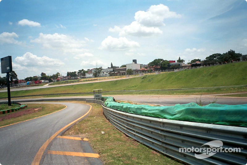 Exiting pits at the Senna esses