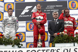 The podium: race winner Michael Schumacher, Kimi Raikkonen and Rubens Barrichello