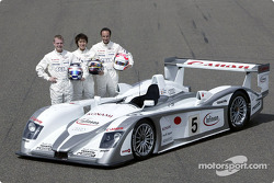 The drivers of Audi Sport Japan Team Goh for the 2003 Le Mans 24 Hour race