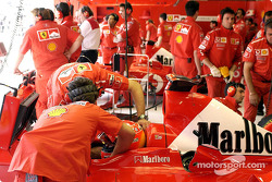 Michael Schumacher in Ferrari garage