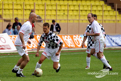 Football match at Stade Louis II in Monaco: Fabien Barthes, Michael Schumacher and Prince Albert
