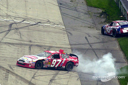 Kurt Busch and Todd Bodine meeting the wall