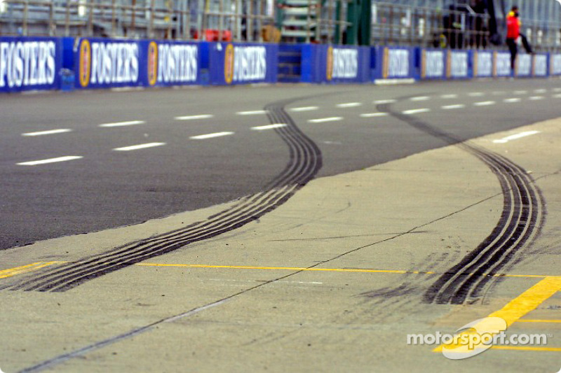 Tire marks left by Ralf