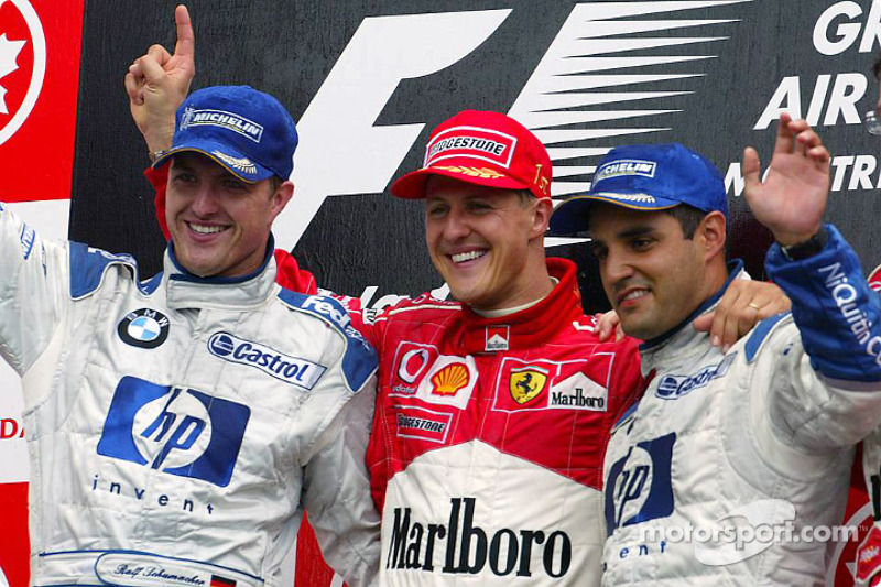 2003: 1. Михаэль Шумахер; 2. Ральф Шумахер; 3. Хуан-Пабло Монтойя