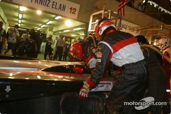 Pitstop for #12 JML Team Panoz Panoz LMP01: Benjamin Leuenberger and Scott Maxwell