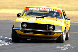 Brad Tilley on the way to putting his Mustang on pole during the historic touring car practice