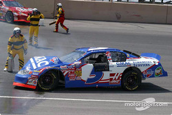 Brian Vickers car catches fire