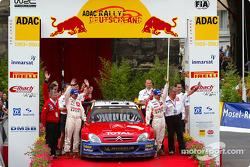 The podium: winner Sébastien Loeb and Daniel Elena
