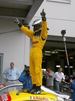 Race winner Laurent Aiello celebrates